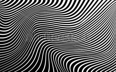 Image art optique abstrait la conception de vague en noir et blanc