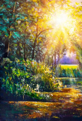 Image Art painting Scenic forest of fresh green deciduous trees framed by leaves, with sun casting its warm rays through foliage