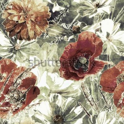 Image art vintage aquarelle coloré transparente motif floral avec coquelicots rouges et blancs, pivoines, asters, feuilles et herbes sur fond vert foncé