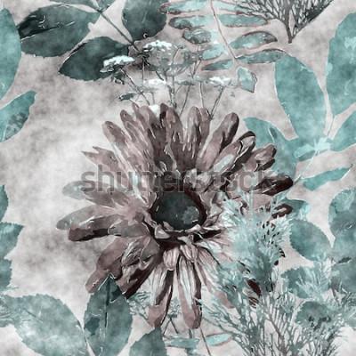 Image art vintage aquarelle coloré transparente motif floral avec gros gerbera, feuilles et herbes sur fond