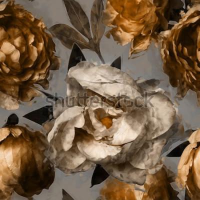 Image art vintage floral pattern sans couture avec pivoines blanches et dorées sur fond gris