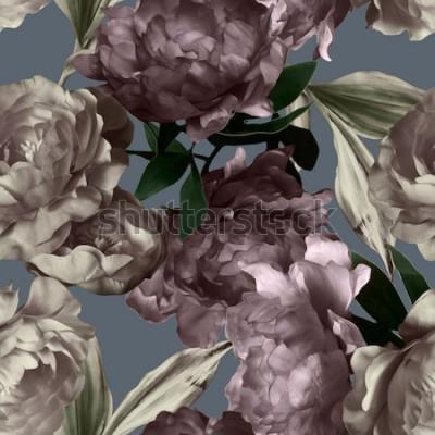 Image art vintage monochrome graphique et aquarelle transparente motif floral avec des pivoines blanches et violettes sur fond gris
