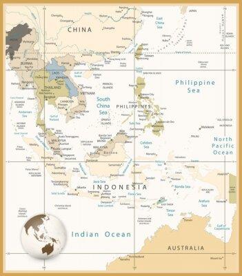 Image Asie du Sud-Est Carte détaillée Rétro couleurs