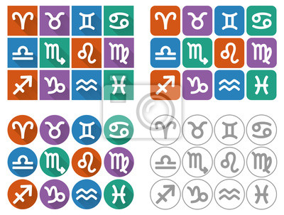 Astrological signs of the zodiac. Flat UI icons with long shadow