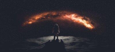 Image Astronaut doing space walk. Mars exploration.