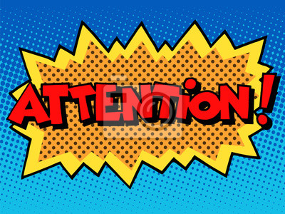 Image Attention inscription style comic book