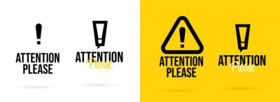 Image Attention please badge with warning mark design isolated set. Important notice and caution information icon for urgent message banner or announcement label element. Vector illustration