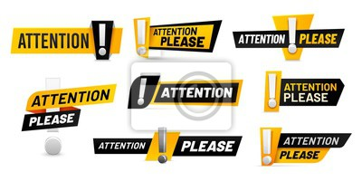 Image Attention please badges. Important message, warnings frames with exclamation point and black and yellow attention badge. Important word, danger announcements information. Isolated vector icons set