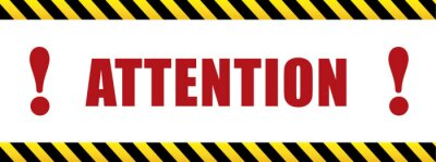 Image Attention with exclamation mark. black and yellow sign in striped frame. Design with attention icon for banner or poster or signboard. Danger warning.