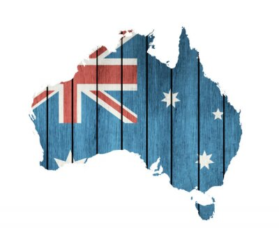 Image Australian Map With Wooden Flag