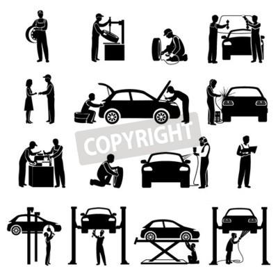 Image Auto service icônes noir ensemble de mécanicien et voitures silhouettes