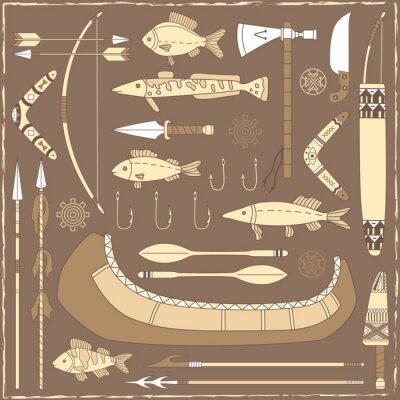 Image Autochtones éléments de conception de pêche américain