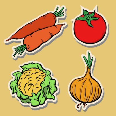 Autocollants, légumes