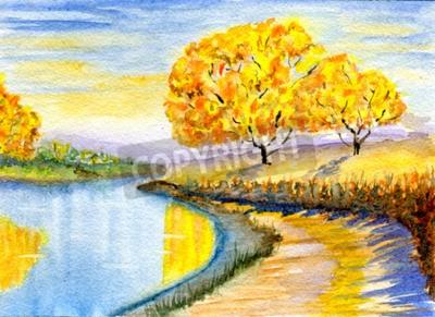Image Automne, campagne, hand-drawn, aquarelle, Illustration, papier, texture