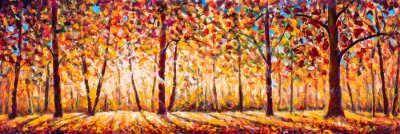 Image Autumn  panorama Original oil painting on canvassunny park with red golden trees and meadow , natural seasonal background Original oil painting on canvas
