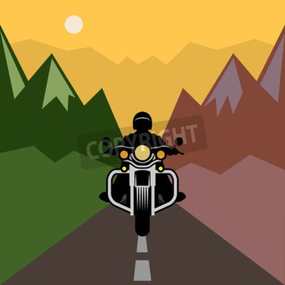 Image Aventure moto, illustration vectorielle