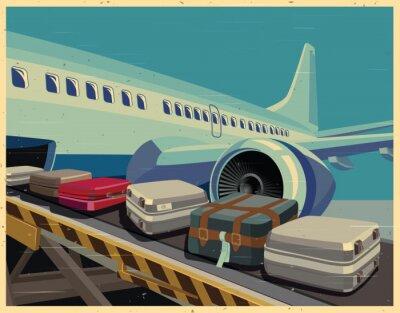 Image Avions civils et bagages affiche ancienne