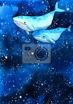 Baleine nageant dans le ciel nocturne parmi les étoiles main aquarelle peinture arrière-plan pour la décoration.