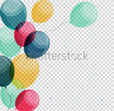 Image Ballons brillants joyeux anniversaire sur fond transparent Vector Illustration eps10