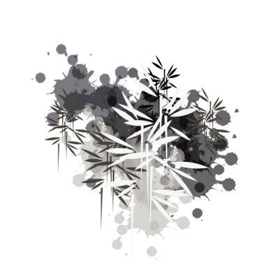 Image bamboo forest illustration in black ink
