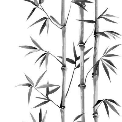 Image Bamboo Seamless Vertical Border on white background