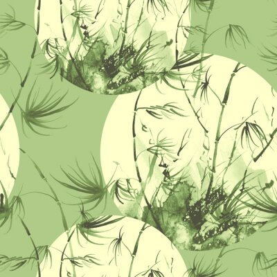 Image Bamboo watercolor stems and leaves seamless pattern. painting of bamboo forest on textured paper. Decorative watercolor bamboo, jungle, thickets. silhouette branches, tropics