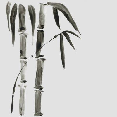 Image Bambou dans le style de peinture japonaise. Traditionnel Belle illustration aquarelle dessinés à la main