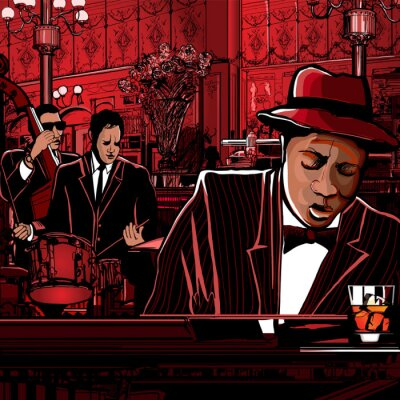 Image bande de piano Jazz dans un restaurant
