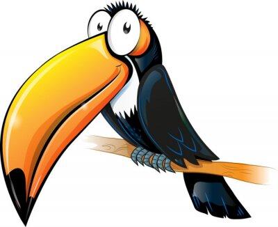 Image bande dessinée toucan fun isolé sur blanc.