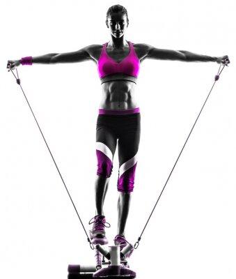 Image bandes femme de remise en forme de résistance pas à pas les exercices