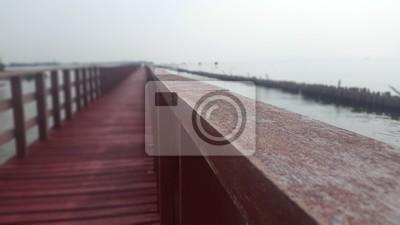 Bangkhuntien, plage, vue, pont, Bangkok, Thaïlande