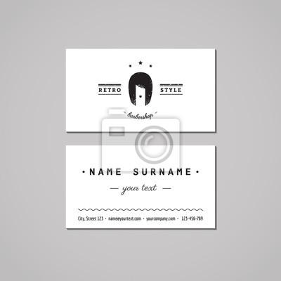 Image Barbershop Concept De Conception Carte Visite Logo Coiffure Avec La Femme
