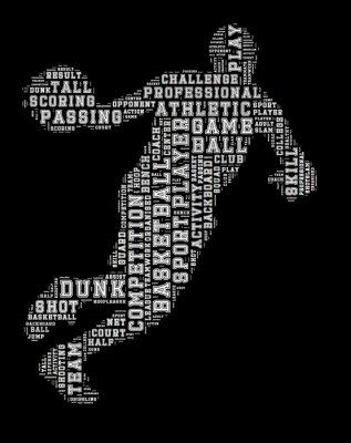 Image Basket-ball, joueur, mot, nuage, basket-ball, typographie ...