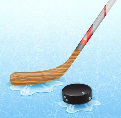 Image Bâton de hockey et rondelle de hockey. Illustration 10 version.