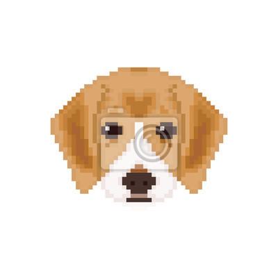 Image Beagle Tête De Chiot En Style Pixel Art Illustration Vectorielle