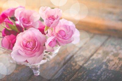 Image Beau, bouquet, rose, fleurs, vieux, endommagé, bois