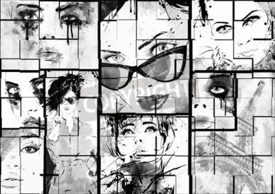 Image Beau collage, fait face à des femmes. mode peinte à la main illustration