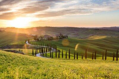 Image Beau, Coucher soleil, Asciano, Toscane, Italie