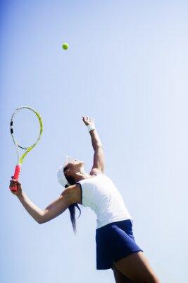 Image Beau, femme, tennis, joueur, portion