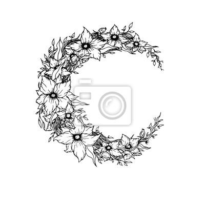Beau Fleurs Feuilles Decore Croissant Lune Blanc Fond