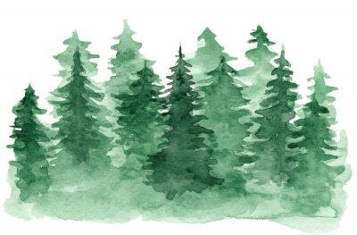Image Beau fond Aquarelle avec forêt de conifères verts. Mystérieux sapin ou pin arbres illustration pour hiver Noël design, isolé sur fond blanc