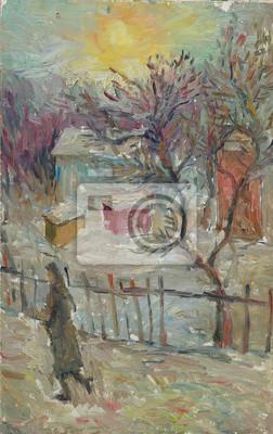 Beau Paysage Original De Peinture à Lhuile Sur La Toile Hiver