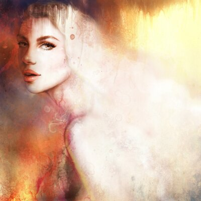 Image Beau portrait de femme. Main, peint, mode, Illustration
