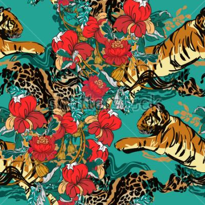 Image Beau tigre abstrait à fleurs rouges et motif tendance sans soudure. Tissu design.