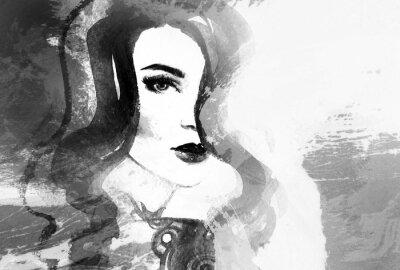 Image Beau visage de femme. Résumé, mode, aquarelle, Illustration
