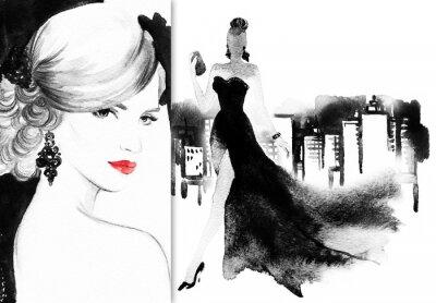 Image Beau visage. Femme, élégant, robe. Résumé, aquarelle, .fashion, fond