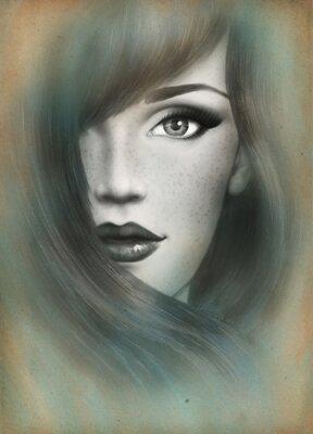 Image Beau visage. Portrait de femme. Résumé, aquarelle, .fashion, fond