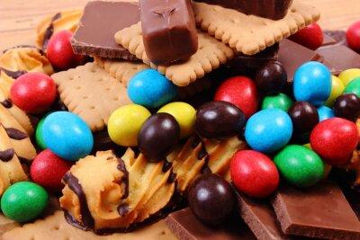Image Beaucoup, bonbons, bois, surface, malsain, nourriture