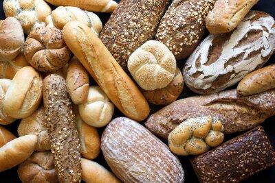 Image Beaucoup de pains mixtes et rouleaux prises d'en haut.