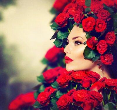 Image Beauté Mannequin Portrait Girl avec Red Roses Coiffure